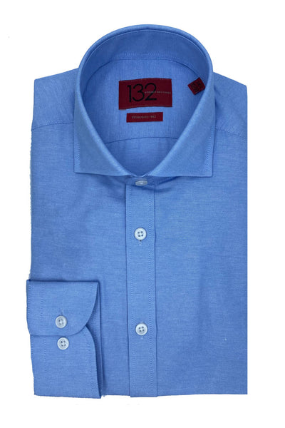 Men's Solid French Blue 100% Cotton Tailored Fit Dress Shirt