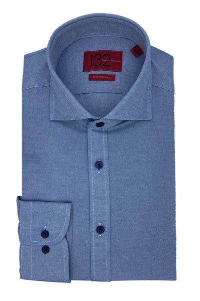 Men's Textured Muted Blue 100% Cotton Tailored Fit Dress Shirt