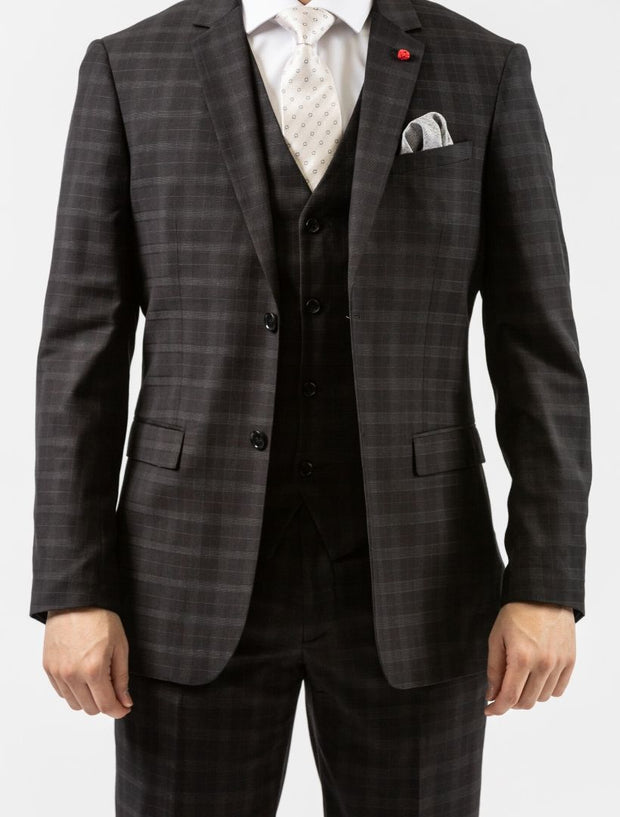 Men's Onyx Black Plaid Vested Slim Fit Suit by FUBU - Front Close Up