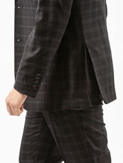 Men's Onyx Black Plaid Vested Slim Fit Suit by FUBU - Side