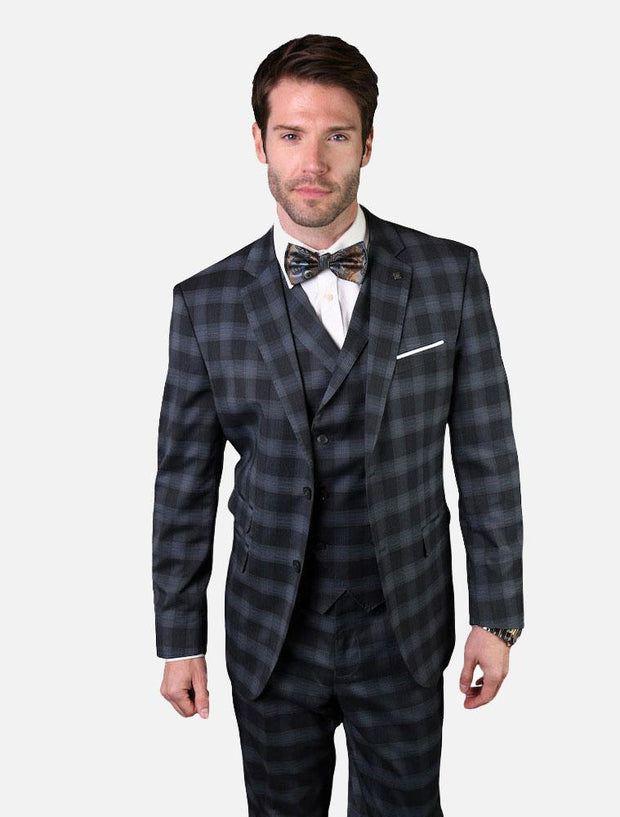 Statement Men's Onyx Black & Charcoal Plaid 100% Wool Vested Suit