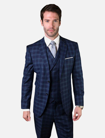 Statement Men's Navy & Blue Plaid 100% Wool Vested Suit