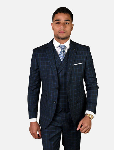 Statement Men's Navy & Blue Checkered 100% Wool Vested Suit