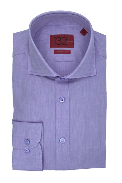 Men's Lavender Textured 100% Cotton Tailored Fit Dress Shirt