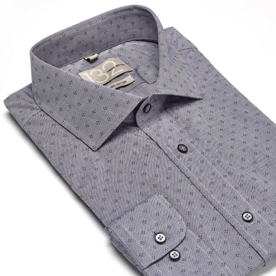 Men's Pewter Grey & Black Patterned 100% Cotton Tailored Fit Dress Shirt - Showcasing Contrast Fabric