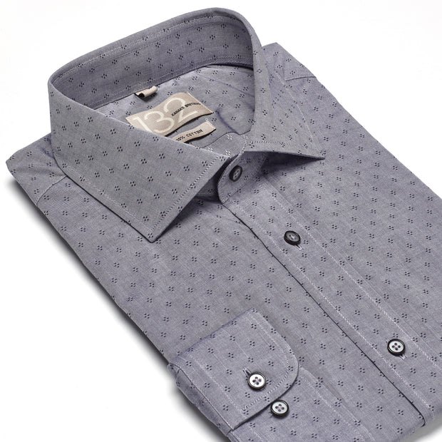 Men's Pewter Grey & Black Patterned 100% Cotton Tailored Fit Dress Shirt