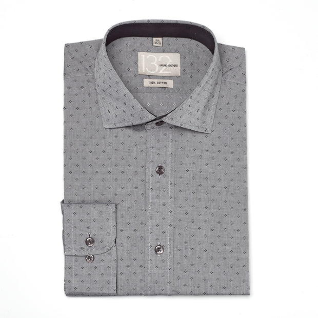 Men's Heather Grey & Black Patterned 100% Cotton Tailored Fit Dress Shirt