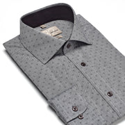 Men's Heather Grey & Black Patterned 100% Cotton Tailored Fit Dress Shirt - Showcasing Contrast Fabric