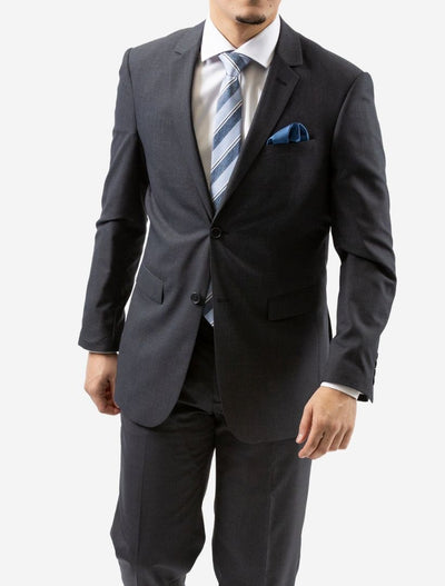 Karako Men Charcoal Slim Fit Suit - Front View