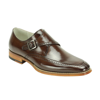 Giovanni Amato Chocolate Brown Monk Strap Men's Dress Shoes
