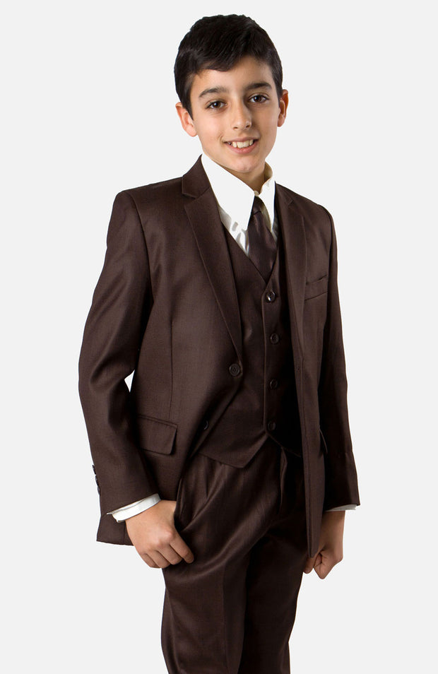 Boy's 5 Piece Brown Suit with Vest, Shirt, and Tie