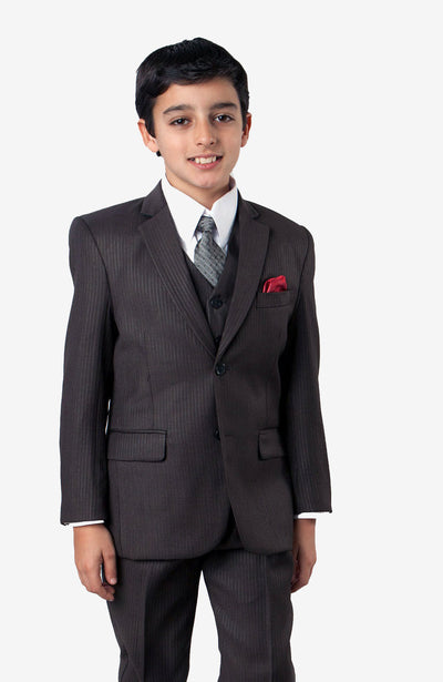 Boy's 5 Piece Dark Slate Suit with Vest, Shirt, and Tie