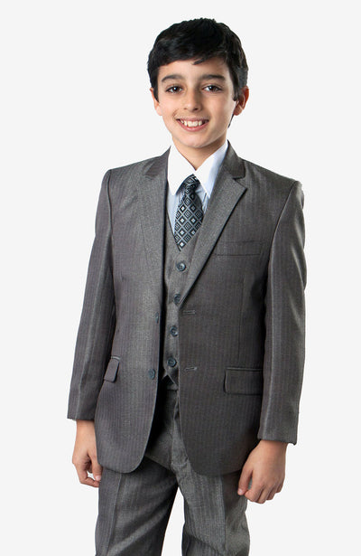 Boy's 5 Piece Silver Suit with Vest, Shirt, and Tie