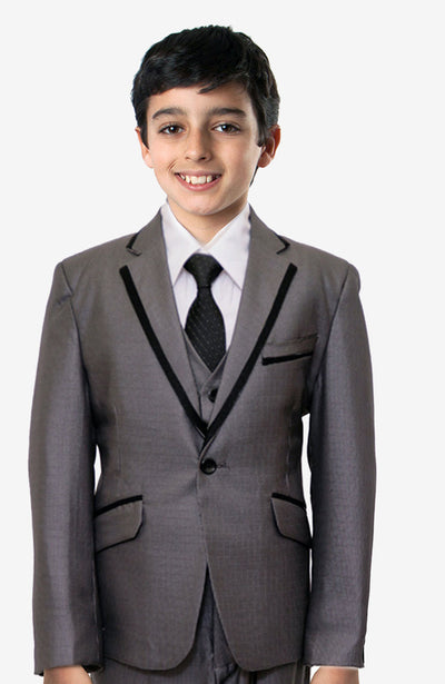 Boy's 5 Piece Grey Tuxedo with Vest, Shirt, and Bow Tie
