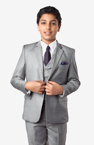 Boy's 5 Piece Light Grey Suit with Vest, Shirt, and Tie