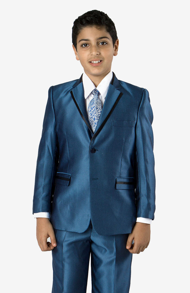 Boy's 5 Piece Sold Blue Texture Tuxedo with Vest, Shirt, and Tie