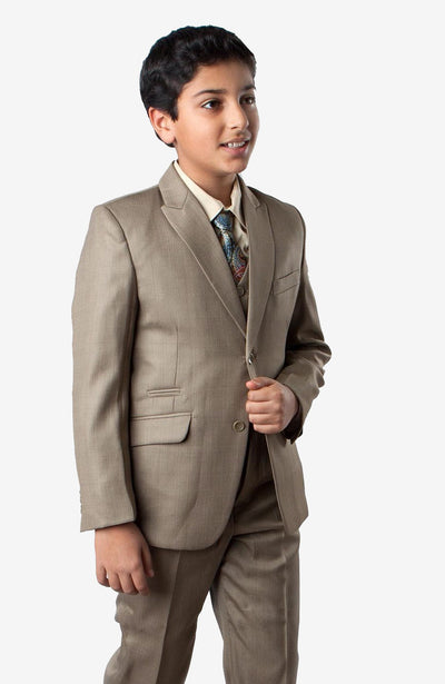 Boy's 5 Piece Sage Suit with Vest, Shirt, and Tie