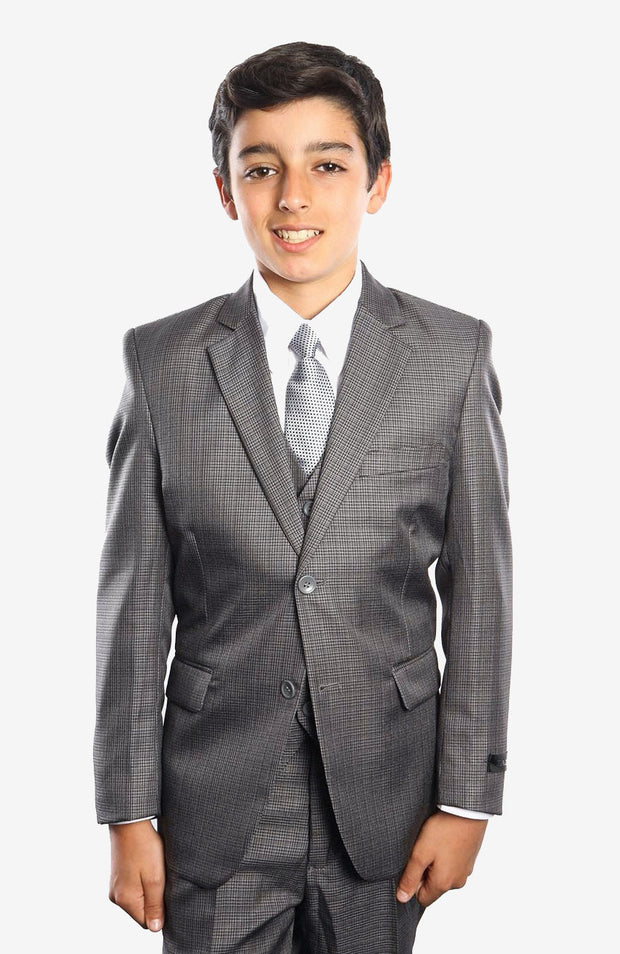 Boy's 5 Piece Grey Houndstooth Pattern Suit with Vest, Shirt, and Tie