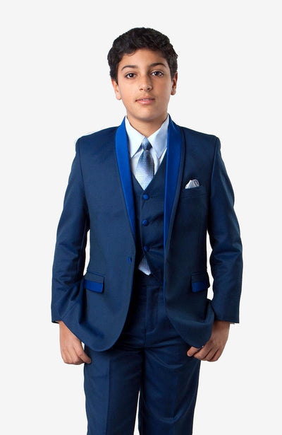 Boy's 5 Piece Blue Tuxedo with Vest, Shirt, and Bow Tie