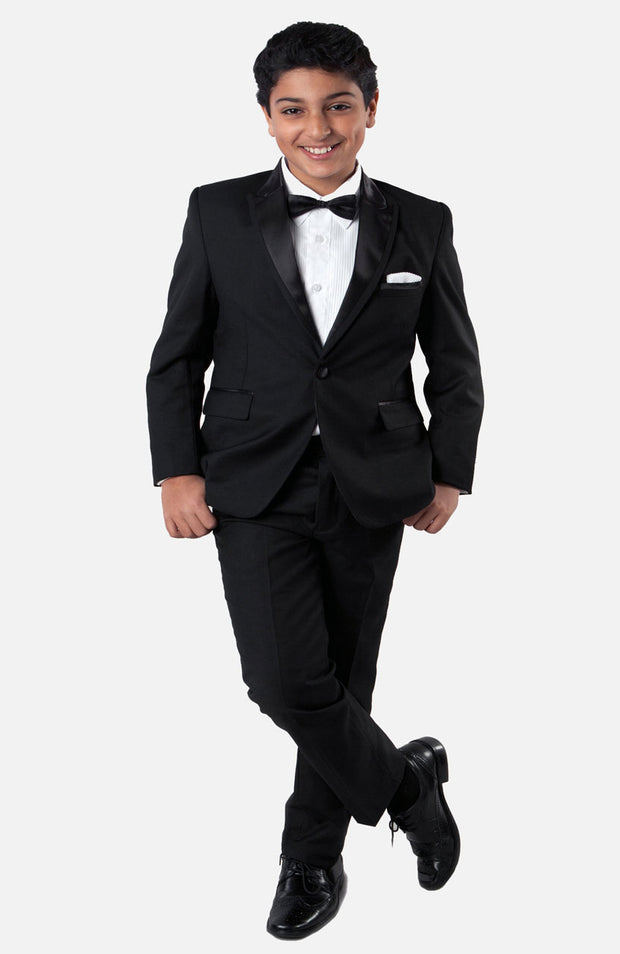 Boy's 5 Piece Black Tuxedo with Vest, Shirt, and Bow Tie