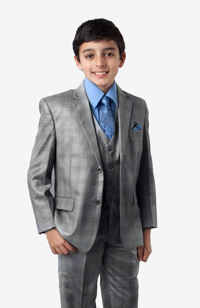 Boy's 5 Piece Dark Grey Windowpane Suit with Vest, Shirt, and Tie