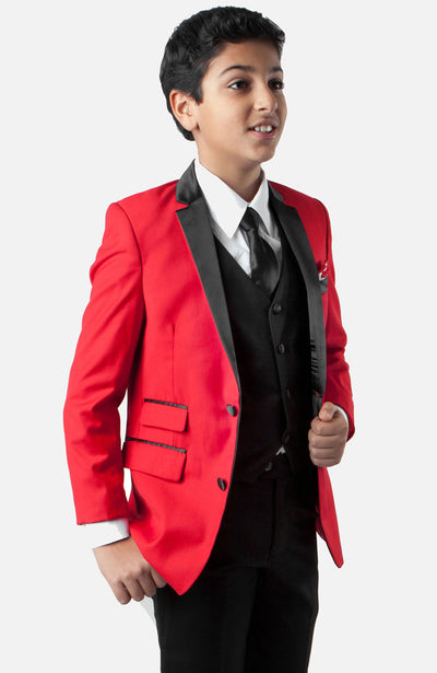 Boy's 4 Piece Red Tuxedo with Vest, Shirt, and Tie