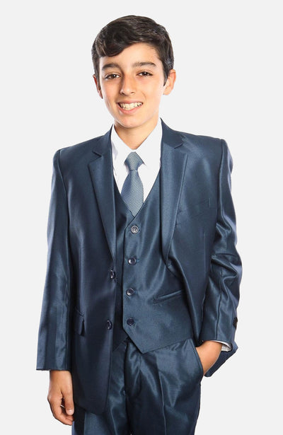 Boy's 5 Piece Navy Suit with Vest, Shirt, and Tie