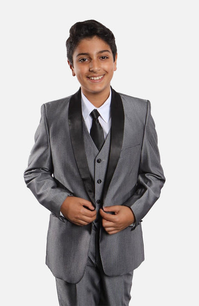 Boy's 5 Piece Grey Tuxedo with Vest, Shirt, and Tie