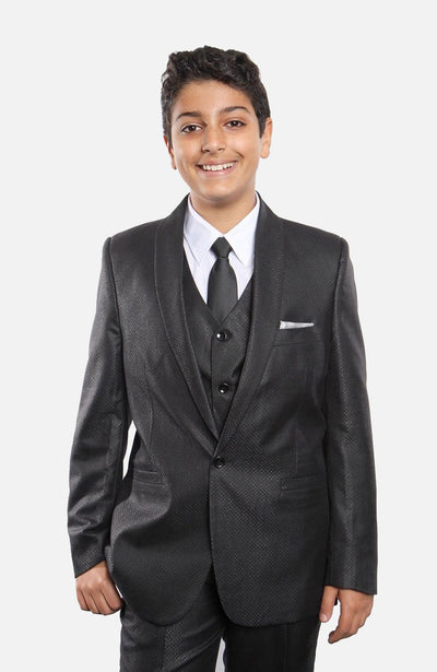Boy's 5 Piece Black Suit with Vest, Shirt, and Tie