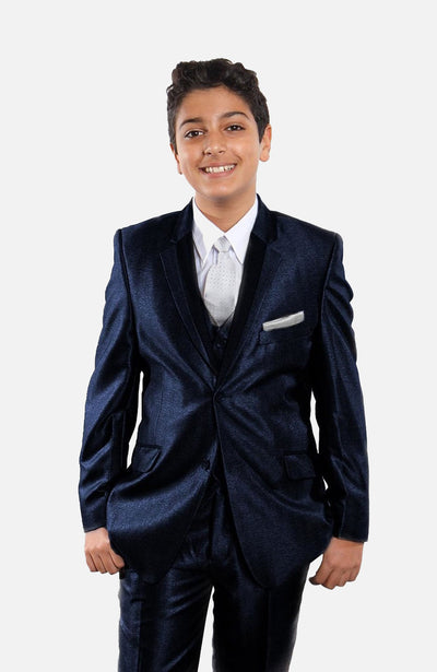 Boy's 5 Piece Shiny Solid Navy Tuxedo with Vest, Shirt, and Tie