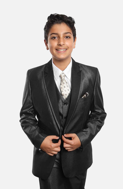 Boy's 5 Piece Shiny Solid Black Tuxedo with Vest, Shirt, and Tie