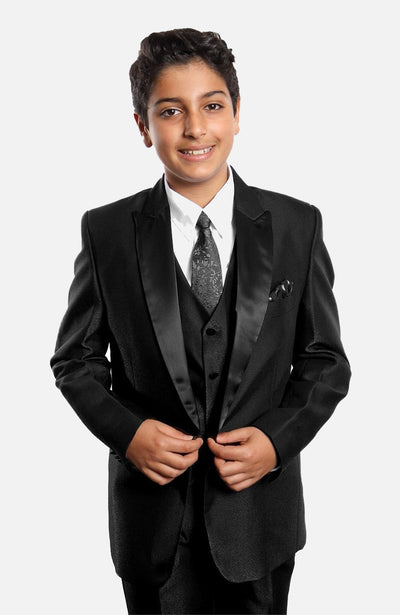 Boy's 5 Piece Black Tuxedo with Vest, Shirt, and Tie