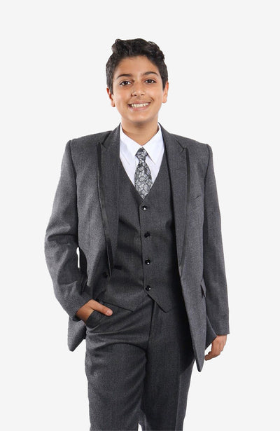 Boy's 5 Piece Charcoal Tuxedo with Vest, Shirt, and Tie