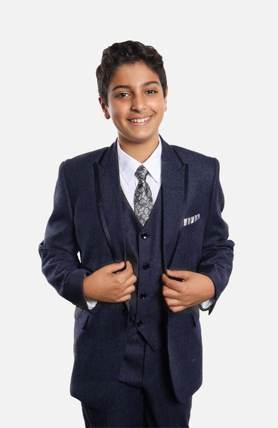 Boy's 5 Piece Navy Tuxedo with Vest, Shirt, and Tie