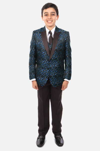 Boy's 5 Piece Navy Patterned Tuxedo with Vest, Shirt, and Tie