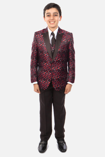 Boy's 5 Piece Red Patterned Tuxedo with Vest, Shirt, and Tie