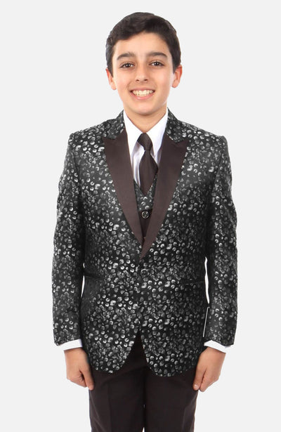 Boy's 5 Piece Black Patterned Tuxedo with Vest, Shirt, and Tie