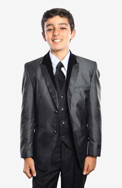 Boy's 5 Piece Black and Grey Pattern Tuxedo with Vest, Shirt, and Tie