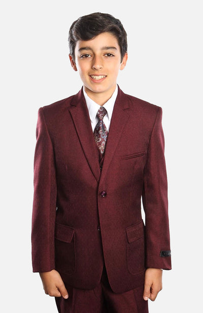 Boy's 5 Piece Burgundy Suit with Vest, Shirt, and Tie
