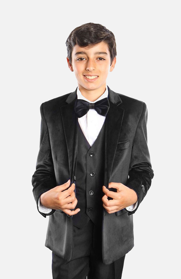 Boy's 5 Piece Black Velvet Tuxedo with Vest, Shirt, and Bow Tie