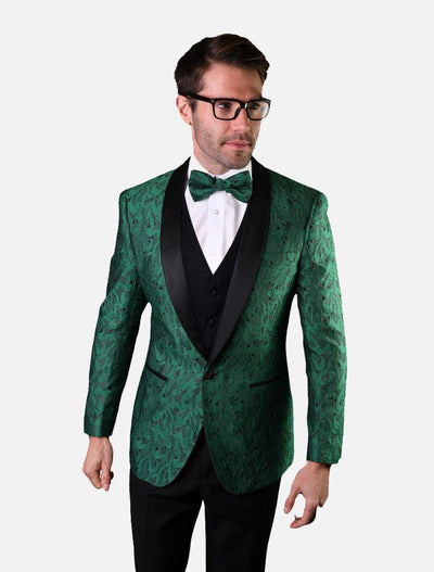 Statement Men's Hunter Green Patterned Vested Tuxedo with Bowtie
