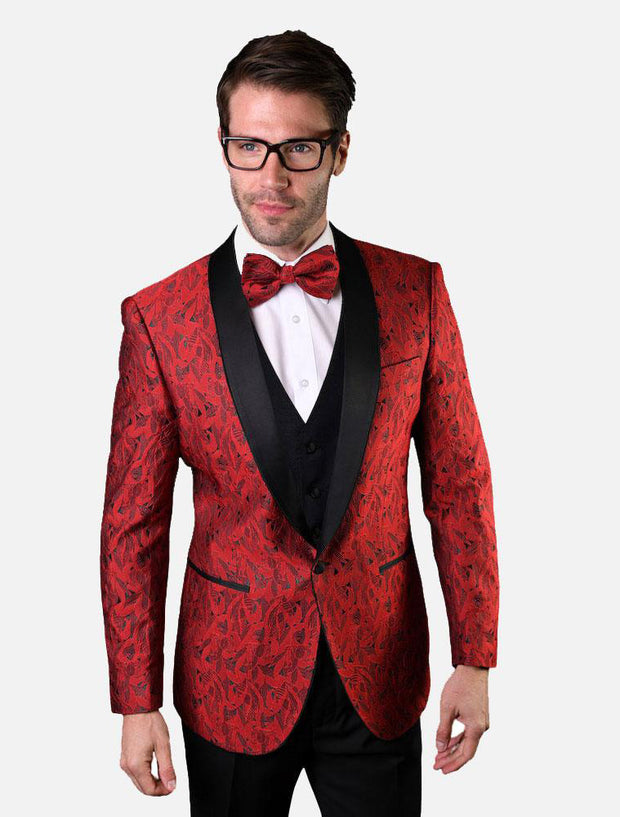 Statement Men's Ruby Red Patterned Vested Tuxedo with Bowtie