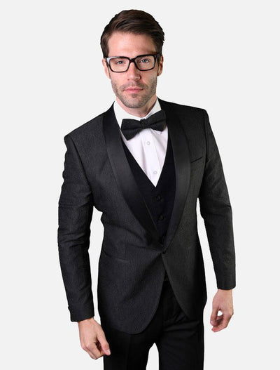 Statement Men's Black Patterned Tuxedo Jacket with Bowtie