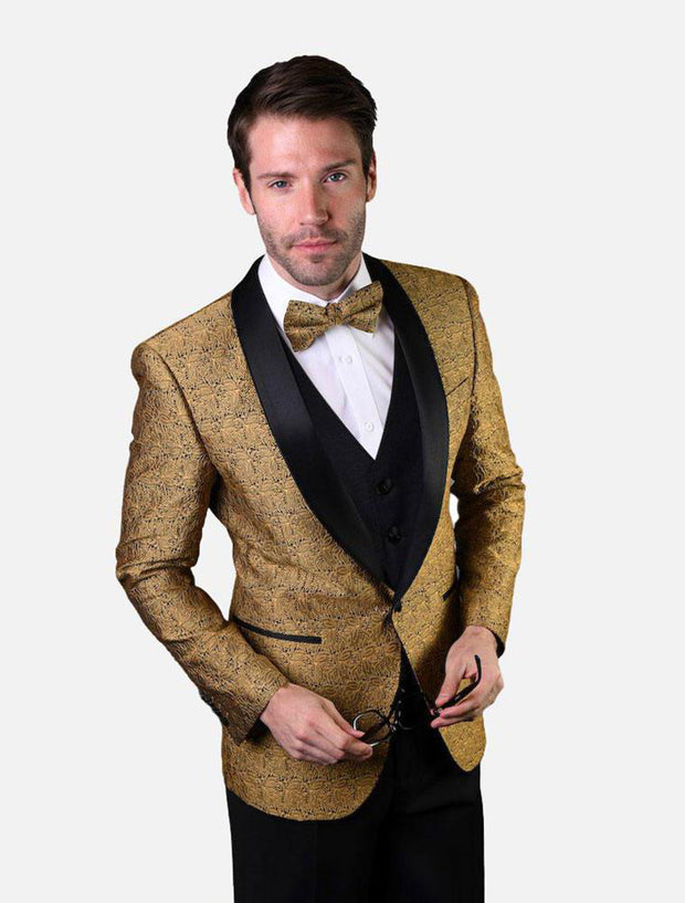 Statement Men's Gold Patterned Tuxedo with Bow Tie