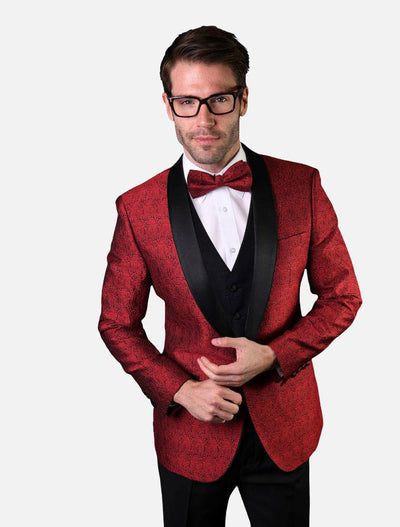 Statement Men's Red Patterned Tuxedo Jacket with Bowtie