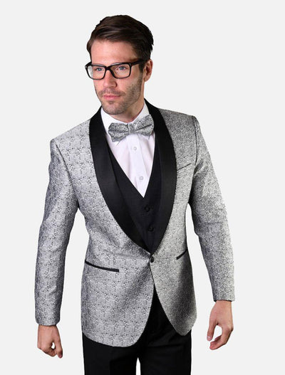 Statement Men's Silver Patterned Tuxedo Jacket with Bowtie