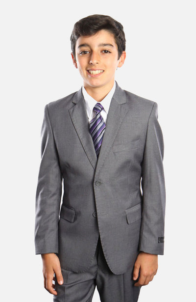 Boy's 5 Piece Grey Suit with Vest, Shirt, and Tie