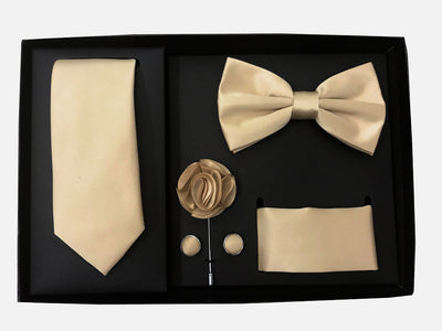Men's Five Piece Solid Beige Gift Box