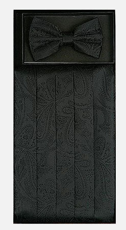 Men's Silk Paisley Black Cummerbund with Bow Tie