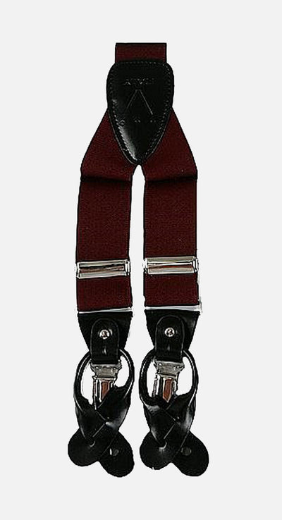 Men's Burgundy Suspenders | Elastic Button and Clip Convertible